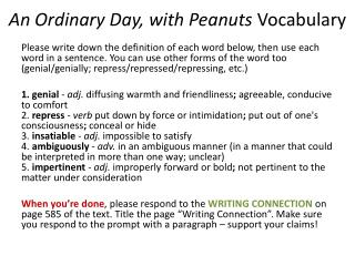An Ordinary Day, with Peanuts  Vocabulary