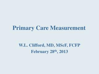 Primary  Care  Measurement
