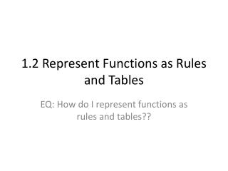 1.2 Represent Functions as Rules and Tables