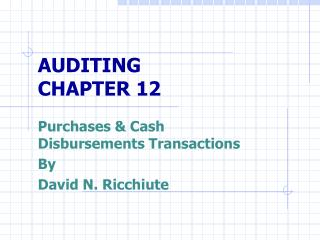 AUDITING CHAPTER 12