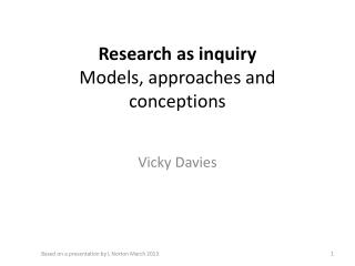Research as inquiry Models , approaches and conceptions