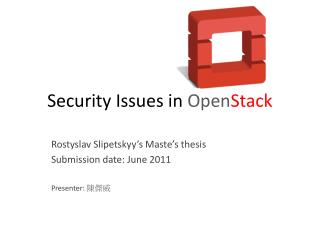Security Issues in  Open Stack