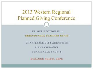 2013 Western Regional Planned Giving Conference