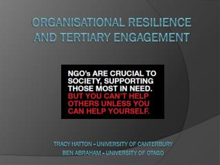 Organisational Resilience and Tertiary Engagement