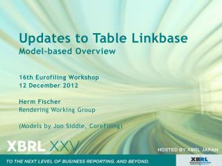 Updates to Table  Linkbase Model-based  Overview