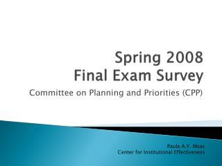Spring 2008  Final Exam Survey