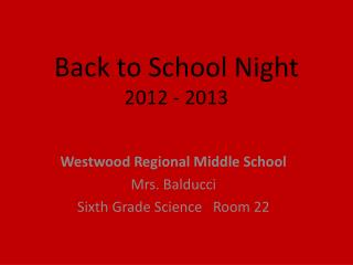 Back to School Night 2012 - 2013