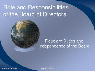 Role and Responsibilities of the Board of Directors