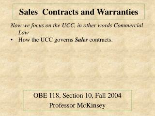 Sales  Contracts and Warranties