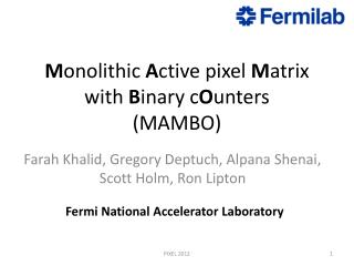 M onolithic  A ctive pixel  M atrix with  B inary  c O unters (MAMBO)