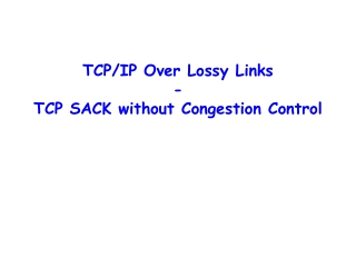 TCP/IP Over Lossy Links - TCP SACK without Congestion Control