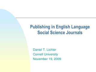 Publishing in English Language Social Science Journals