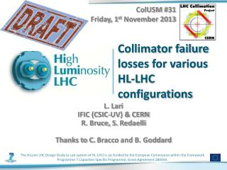 Collimator failure losses for various HL-LHC configurations