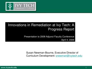 Innovations in Remediation at Ivy Tech: A Progress Report