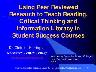 Dr. Christine Harrington Middlesex  County College charrington@middlesexcc