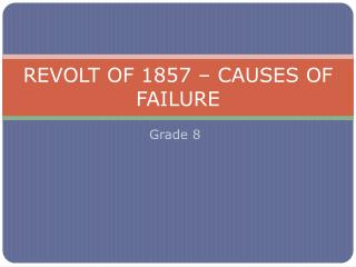 REVOLT OF 1857 – CAUSES OF FAILURE