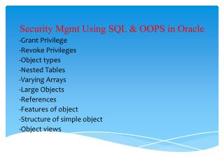 Security Mgmt Using SQL & OOPS in Oracle