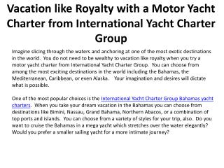 Vacation like Royalty with a Motor Yacht Charter from Intern