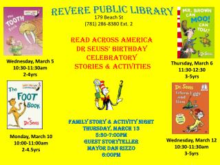 Wednesday, March 5 10:30-11:30am 2-4yrs