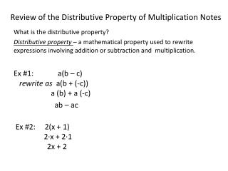 Review of the Distributive Property of Multiplication Notes