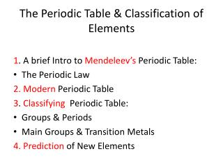 The Periodic Table & Classification of Elements