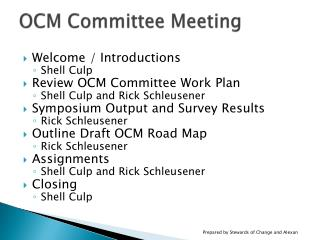 OCM Committee Meeting