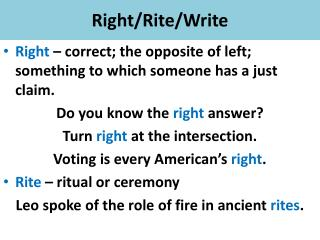 Right/Rite/Write