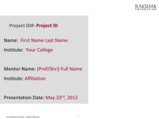 Project ID#:  Project ID