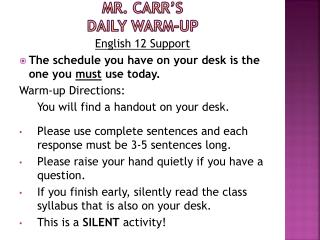 Mr. Carr's  Daily Warm-up