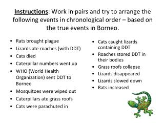Rats brought plague Lizards ate roaches (with DDT) Cats died Caterpillar numbers went up