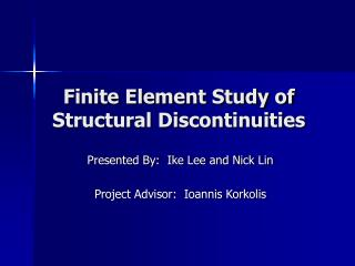 Finite Element Study of Structural Discontinuities