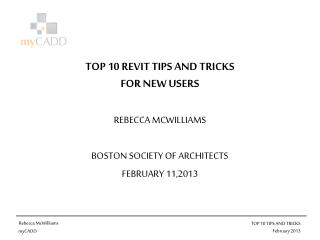 TOP 10 REVIT TIPS AND TRICKS  FOR NEW USERS