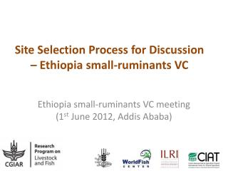 Site Selection Process for Discussion  – Ethiopia small-ruminants VC