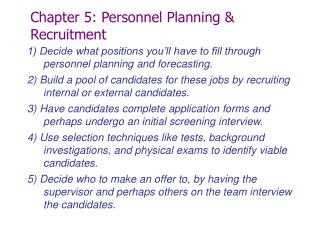 Chapter 5: Personnel Planning & Recruitment