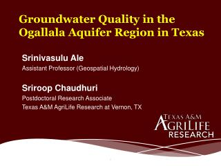 Groundwater  Quality in the Ogallala Aquifer Region in Texas