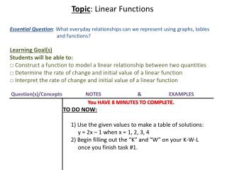Topic : Linear Functions