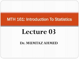 MTH 161: Introduction To Statistics