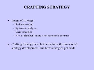 CRAFTING STRATEGY
