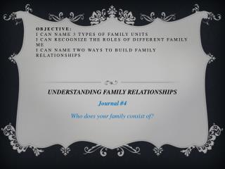 UNDERSTANDING FAMILY RELATIONSHIPS  Journal #4 Who does your family consist of?