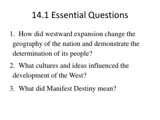 14.1 Essential Questions