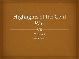 Highlights of the Civil War
