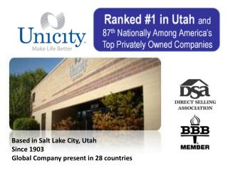 Based in Salt Lake City, Utah Since 1903 Global Company present in 28 countries