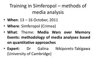 Training in Simferopol – methods of media analysis