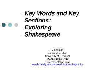 Key Words and Key Sections: Exploring Shakespeare