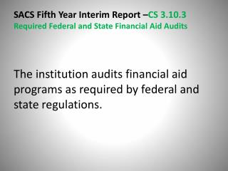 Supporting Documents Financial  Aid Audits