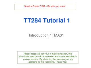 TT284 Tutorial 1