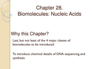 Chapter 28. Biomolecules : Nucleic Acids