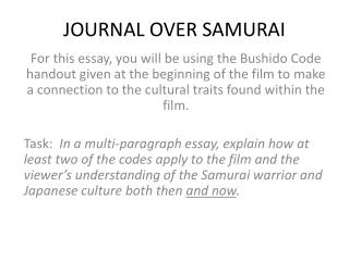JOURNAL OVER SAMURAI
