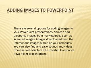 Adding Images to PowerPoint