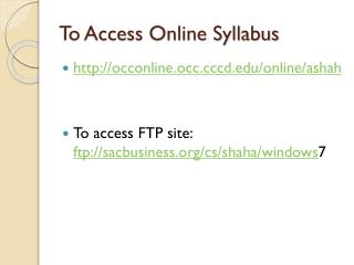 To Access Online Syllabus
